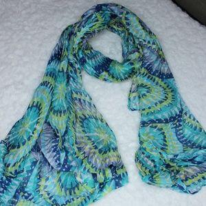 Accessories - Blue n Green Tie Dye Geometric Scarf